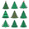 Nine christmas color trees on white set vector of sketches background Royalty Free Stock Images
