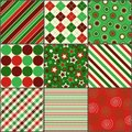 Nine Christmas Colored Patterns Royalty Free Stock Image