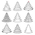 Nine christmas trees set black on white vector of sketches background Stock Photo