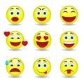 Nine circular emoticons