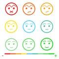 Nine Color Faces Feedback/Mood. Set nine faces scale - sad neutral smile - isolated vector illustration. Flat design.