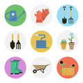 Nine color flat icon set - GARDENING