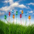 Nine colored bird houses on long stems in the sky background