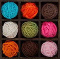 Nine colorful balls of yarn in printers box Royalty Free Stock Photo