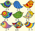 Nine Colorful Birds Royalty Free Stock Photos