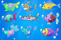 Nine colorful fishes under the sea illustration of Stock Photos