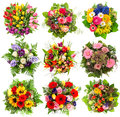 Nine Colorful Flowers Bouquet ...