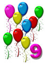 Nine colorfull balloons Royalty Free Stock Photos
