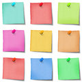 Nine colour post it note with pins on white background Royalty Free Stock Image