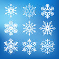 Nine cute snowflakes collection of for web or print Stock Photography