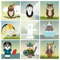 Nine different animals dressed like humans