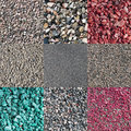 Nine different colored and natural crushed stones Stock Images