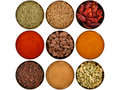 Nine different spices Royalty Free Stock Photos