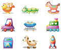 Nine different toys for children illustration of the on a white background Stock Photo
