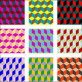 Nine different versions of psychedelic patterns Royalty Free Stock Photography