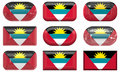 Nine glass buttons of the Flag of antigua barbuda Stock Images