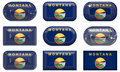 Nine glass buttons of the Flag of Montana Royalty Free Stock Image
