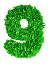 Nine. Handmade number 9 from green scraps of paper Royalty Free Stock Photo
