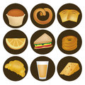 Nine icons for breakfast of bread wheat sandwiche orange juice and cheese Stock Photo