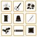 Nine icons different adaptations for sewing and an embroidery Royalty Free Stock Photo
