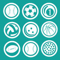 Nine icons of sport different different balls used in different sports Royalty Free Stock Photography