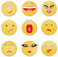 Nine looks from sad to the cheerful vector illustration Royalty Free Stock Image