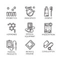 Nine medical and health care icons in outline style