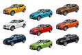 Nine modern cars bmw x view of a german on white background Stock Image