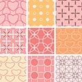 Nine pastel seamless textures Royalty Free Stock Photo
