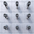 Nine security cameras Royalty Free Stock Photos