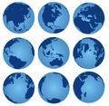 Nine set of view world globe Royalty Free Stock Photo