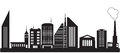 Nine silhouettes of city buildings vector illustration Royalty Free Stock Photos