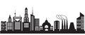 Nine silhouettes of city buildings vector illustration Stock Image