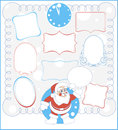 Nine simple frames and santa claus calligraphic beautiful Royalty Free Stock Images