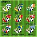 Nine soccer football teams from europe vector cartoon of including finland sweden ireland denmark romania switzerlands croatia Stock Photography