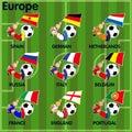 Nine soccer football teams from europe vector cartoon of including spain german netherlands russia italy belgium france england Stock Photos