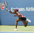 Nine times grand slam champion venus williams duri flushing ny august during her first round match against kirsten flipkens at us Stock Photo