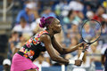 Nine times grand slam champion venus williams during her first round doubles match with teammate serena williams at us open Stock Image