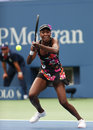 Nine times grand slam champion venus williams during her first round match at us open flushing ny august against kirsten flipkens Royalty Free Stock Image