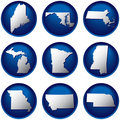 Nine United States Buttons Stock Images