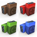 Nine volt battery, shown in copper, red, green and blue finish, set