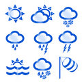 Nine weather icons Royalty Free Stock Images