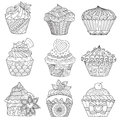 Nine zendoodle design of cupcakes isolated on white background design for both kids and adult coloring book page. Vector illustrat