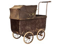 Nineteenth century baby pram isolated on white brown a background Royalty Free Stock Photo