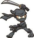 Ninja in black garb striking a pose with katana Royalty Free Stock Photo