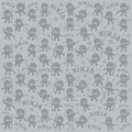 Ninja cartoon character pattern doodle set graphic design illustration Stock Photos