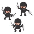 Ninja cartoon character set graphic design illustration Stock Photo