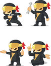 Ninja customizable mascot a vector set of in several poses drawn in cartoon style this vector is very good for design that need Stock Photos