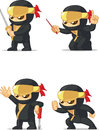 Ninja customizable mascot a vector set of in several poses drawn in cartoon style this vector is very good for design that need Stock Photo