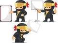 Ninja customizable mascot a vector set of in several poses drawn in cartoon style this vector is very good for design that need Stock Photography